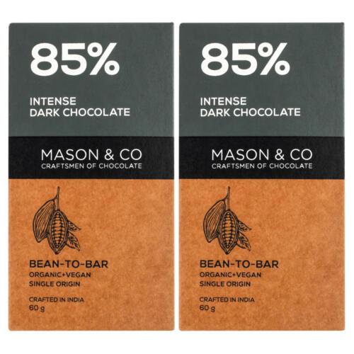 Mason & Co. 85% Intense Dark Organic Chocolate Bar, 60g (Pack Of 2)
