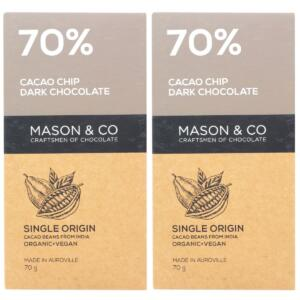 Mason & Co. 70% Cacao Chip Dark Organic Exotic Artisanal Chocolate, 60g [Pack Of 2, Organic, Gluten Free, Soy Free, Vegan]