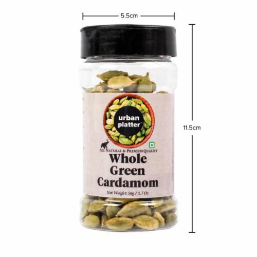 Urban Platter Whole Green Cardamom (Elaichi) Shaker Jar, 50g / 1.7oz [Premium Quality, 7-8mm Size, Aromatic]