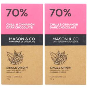 Mason & Co 70% Chilli & Cinnamon Dark Organic Artisanal Chocolate Bar - 70g [Pack Of 2, Organic, Gluten Free, Soy Free, Vegan]