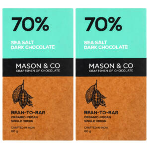 Mason & Co. 70% Sea Salt Dark Organic Exotic Artisanal Chocolate Bar - 60g [Pack Of 2, Organic, Gluten Free, Soy Free, Vegan]