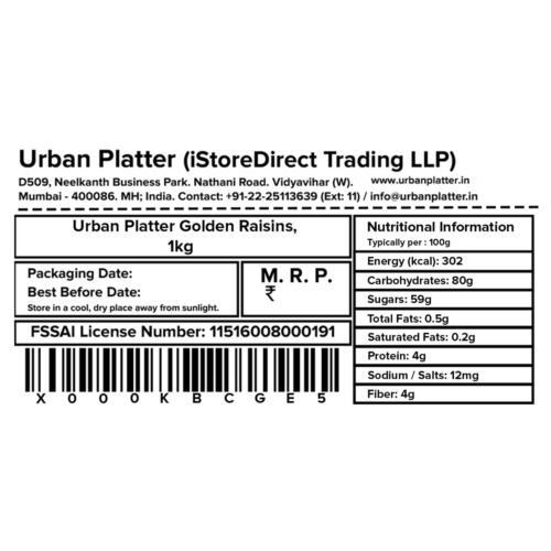 Urban Platter Golden Raisins (Kishmish), 1Kg