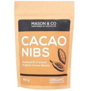 Mason & Co. Roasted & Cracked Organic Cocoa Beans / Nibs / Granulas, 300g [Organic, Gluten Free, Soy Free, Vegan]