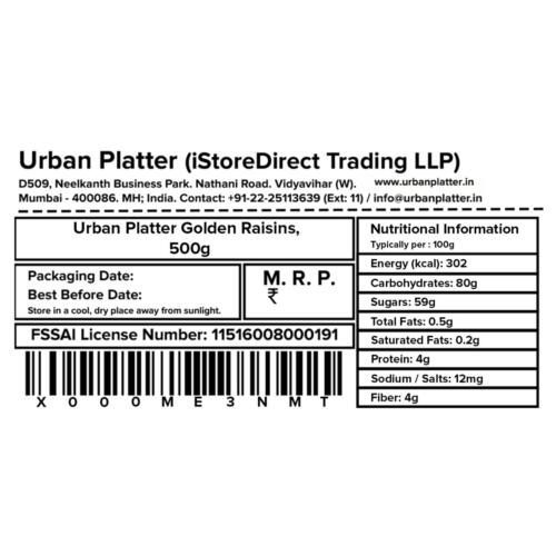Urban Platter Golden Raisins (Kishmish), 500g