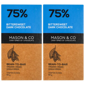 Mason & Co. 75% Bittersweet Dark Organic Exotic Artisanal Chocolate - 60g (Pack Of 2)