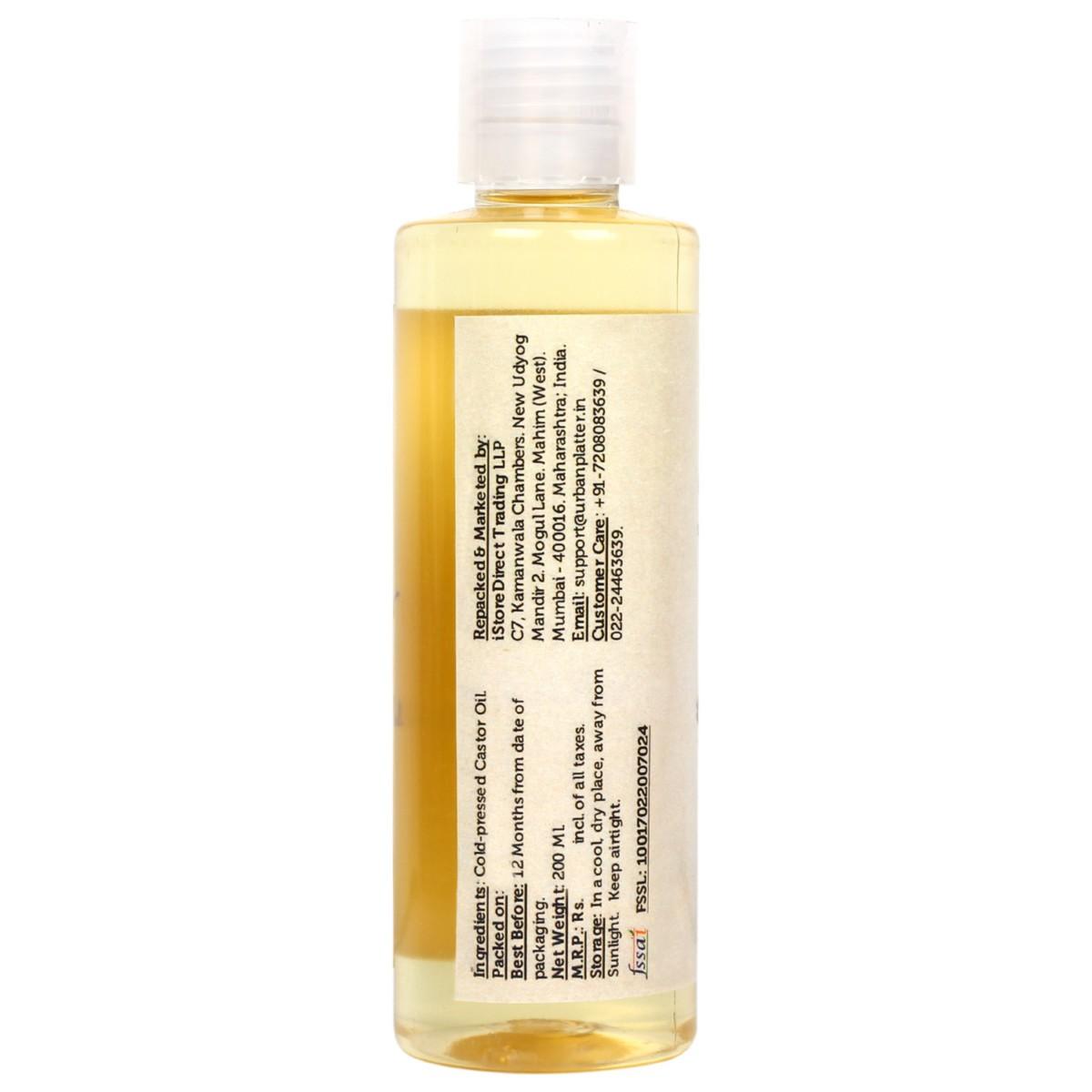 Urban Platter Cold Pressed Castor (Arandi) Oil, 200 ML [Food-grade, Great  for Skin & Hair, Moisturizing & Healing]