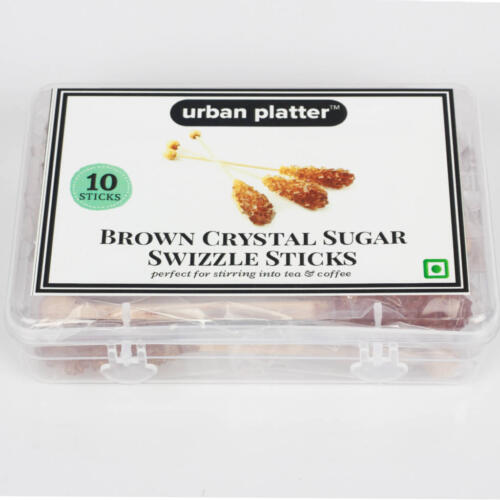 Urban Platter Brown Crystal Sugar Swizzle Sticks, 10 Sticks