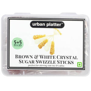 Urban Platter Brown & White Crystal Sugar Swizzle Sticks, 10 Sticks [5+5]