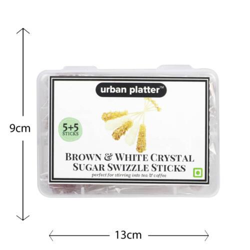 Urban Platter Brown & White Crystal Sugar Swizzle Sticks, 10 Sticks [5+5]