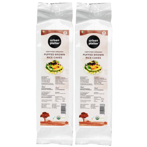 Urban Platter Organic Puffed Brown Rice Cakes, 125g (Pack of 2)
