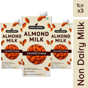Urban Platter Almond Milk, 1 Litre [Pack Of 3, Unsweetened, Lactose-Free, Plant-Based Milk Alternative]