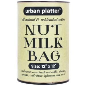 "Urban Platter Natural Unbleached Cotton Nut Milk Bag (Size: 12"" x 12"")"