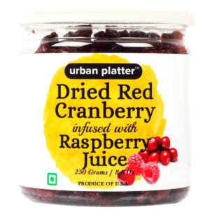 Urban Platter Dried Red Cranberry Infused with Raspberry Juice, 250g [All Natural, Premium Quality, Flavorful]