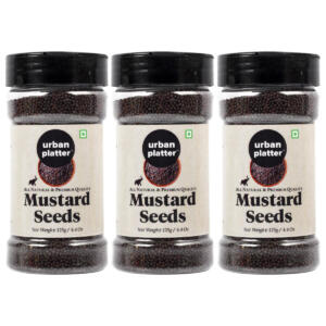 Urban Platter Whole Black Mustard Seeds (Rai or Sarson) Shaker Jar, 125g / 4.4oz [Pack of 3, All Natural, Premium Quality]