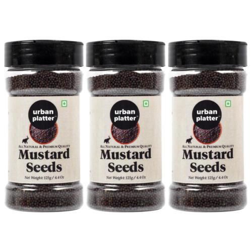 Urban Platter Whole Black Mustard Seeds (Rai or Sarson) Shaker Jar, 125g / 4.4oz [Pack of 3, All Natural, Premium Quality]