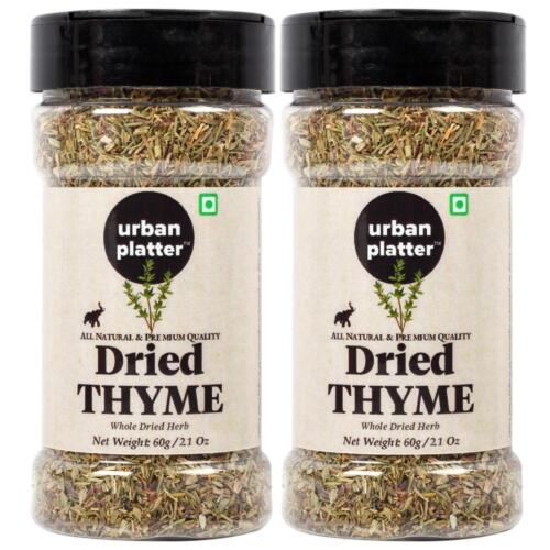 Urban Platter Dried Thyme Flakes Shaker Jar, 60g / 2.1oz [Pack of 2, Premium Quality and Nutritious]