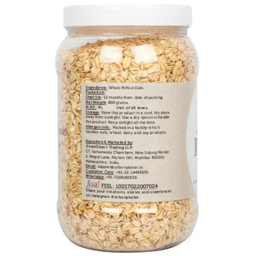 Urban Platter Rolled Whole Oats Jar, 800g / 28.2oz [High Fibre, Premium Quality, Protein Rich]