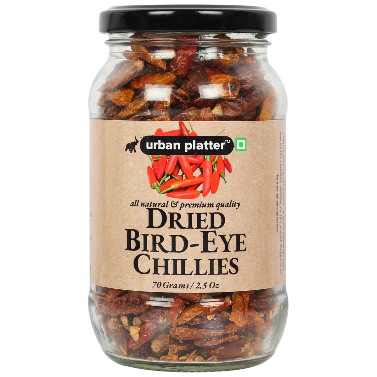 Urban Platter Dried Bird-Eye Chillies, 70g / 2.5oz [Tiny Chilly, Hot and Spicy]