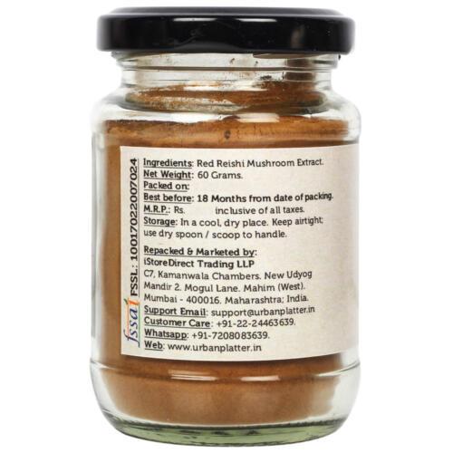 Urban Platter Red Reishi Mushroom Extract Powder, 50g / 1.76oz [All Natural, Nutrient Dense SuperFood]