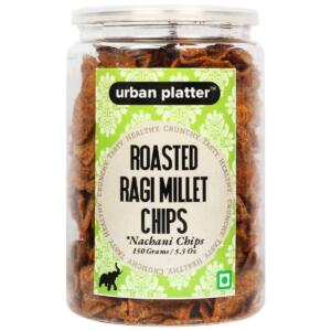 Urban Platter Roasted Ragi Millet Chips (Nachani Chips), 150g / 5.3oz [Crunchy, Spicy, Delicious]