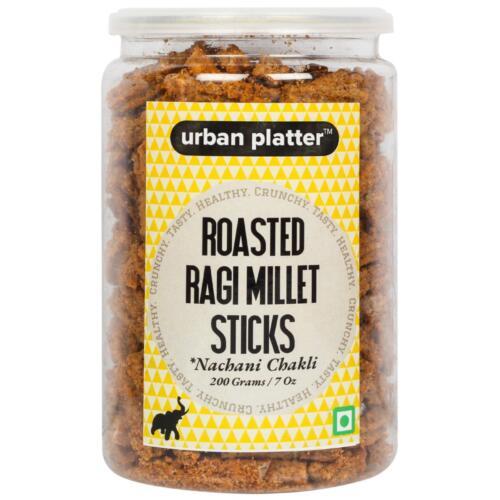 Urban Platter Roasted Ragi Millet Sticks (Nachani Chakli), 200g / 7oz [Crunchy, Spicy, Delicious]