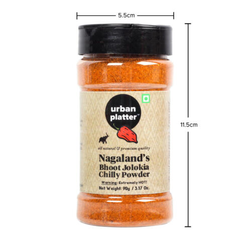 Urban Platter Nagaland's Bhoot Jolokia Chilly Powder, 90g / 3.17oz [1.3 Million Scovilles of Heat, King Naga Chilly Powder, SUPER-HOT]