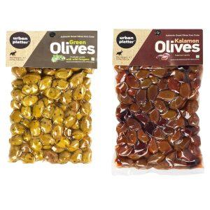 Urban Platter Black & Green Greek Olives (Combo Pack), 500g / 17.6oz [Black Kalamata Olives, Green Chalkidiki Olives with Oregano, Unpitted]