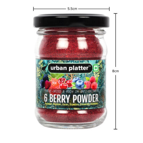 Urban Platter 6 Berry Powder, 50g / 1.8oz [Freeze-Dried, Blueberry, Mulberry, Cherry, Raspberry, Strawberry and Blackberry]