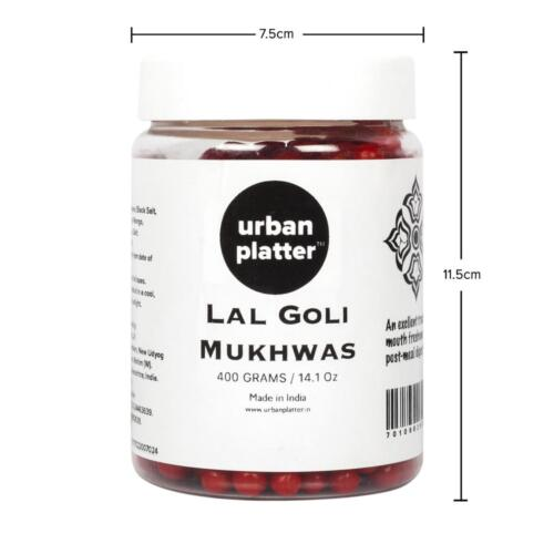 Urban Platter Lal Goli Mukhwas, 400g / 14.1oz [ Mouth Freshener, Digestive, After-Meal Snack]