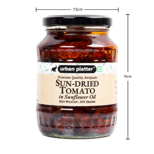 Urban Platter Sun Dried Tomato in Sunflower Oil, 350g / 12.3oz [All Natural, Infused in Sunflower Oil, Great for Antipasto]