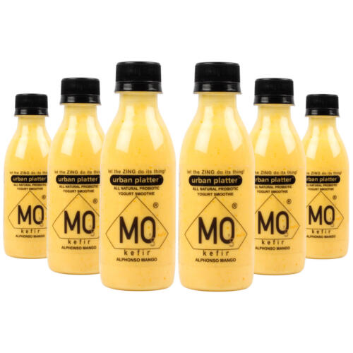 Urban Platter Mo's Kefir, Alphonso Mango, 200ml [All Natural Probiotic Yogurt Smoothie, Ready to Drink, Pack of 6]