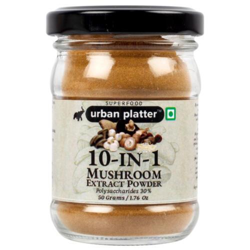 Urban Platter 10-in-1 Mushroom Extract, 50g / 1.76oz [Blend of Agaricus Blazei, Chaga, Cordyceps, Enoki, Lion's Mane, Maitake, Polyporus, Reishi, Shiitake, and Turkey Tail]