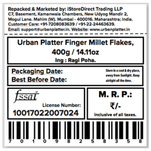 Urban Platter Finger Millet Flakes (Ragi Poha, Nachani), 400g / 14.11oz