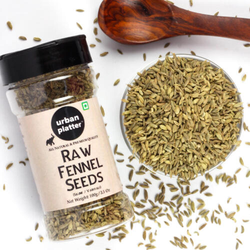 Urban Platter Raw Fennel Seeds (Saunf/Variyali) Shaker Jar, 100g / 3.5oz [Pack of 3 and Premium Quality]