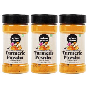 Urban Platter Turmeric (Haldi) Powder Shaker Jar, 100g / 3.5oz [Pack of 3, All Natural, Premium Quality]
