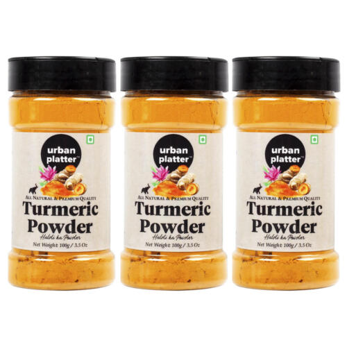 Urban Platter Turmeric (Haldi) Powder Shaker Jar, 100g / 3.5oz [Pack of 3, All Natural, Premium Quality]