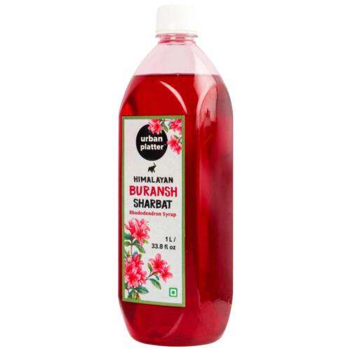 Urban Platter Buransh Sharbat, 1Litre [Rhododendron Syrup, Coolant & Refreshing]