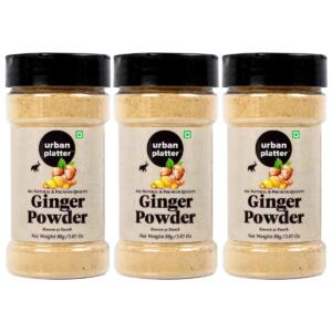 Urban Platter Dried Ginger Powder (Sunth) Shaker Jar, 80g / 2.82oz [Pack of 3, All Natural, Premium Quality]