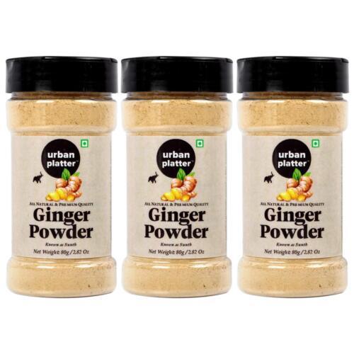 Urban Platter Dried Ginger Powder (Sunth) Shaker Jar, 80g / 2.82oz [Pack of 3, All Natural, Premium Quality]
