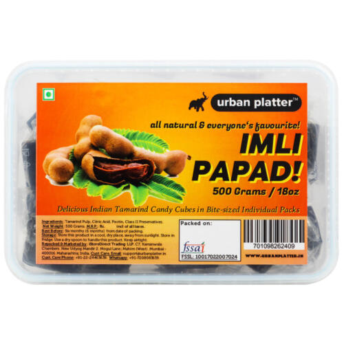 Urban Platter Imli Papad, 500 Grams [Bite-sized, Individually Wrapped Tamarind Pulp Cubes]
