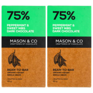 Mason & Co. 75% Dark Chocolate with Peppermint & Sweet Nibs, 60g [Pack Of 2, Gluten Free, Soy Free, Vegan]
