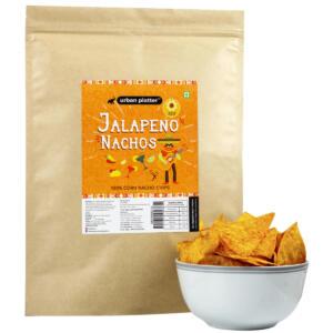 Urban Platter Jain Jalapeno Nachos, 200g / 7oz [No Garlic, 100% Corn Nacho Chips, Party Pack]
