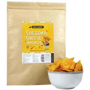 Urban Platter Cheddar Cheese Nachos, 200g / 7oz [100% Corn Nacho Chips, Party Pack]