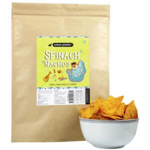 Urban Platter Spinach Nachos, 200g / 7oz [100% Corn Nacho Chips, Party Pack]