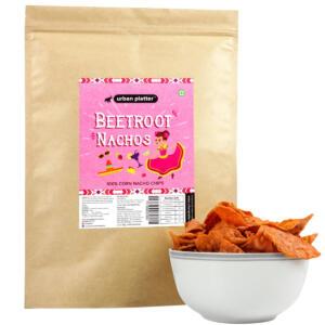 Urban Platter Beetroot Nachos, 200g / 7oz [100% Corn Nacho Chips, Party Pack]