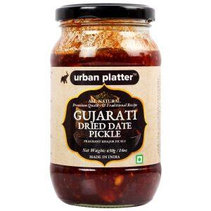 Urban Platter Gujarati Dried Date Pickle, 450g / 16oz [Sweet, Khajur Pickle, Traditional Recipe]