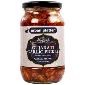 Urban Platter Gujarati Garlic Pickle, 400g / 14oz [Premium Quality, Delicious, Traditional Recipe]