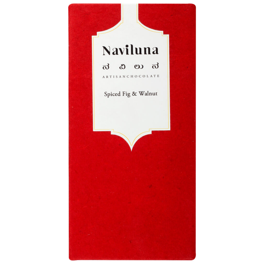 Naviluna Spiced Fig and Walnut Chocolate Bar, 60g