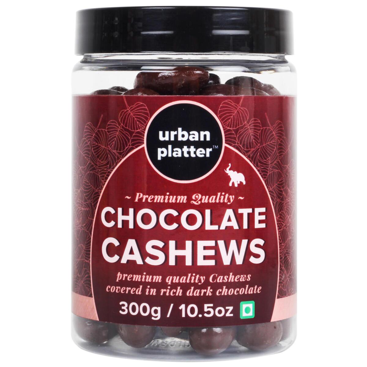 Urban Platter Chocolate Cashews (Kaju), 300g / 10.5oz [Cashews Covered in Dark Chocolate]