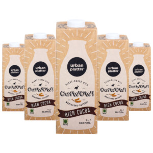 Urban Platter OatWOW Rich Cocoa, 1 Litre / 35.2fl.oz [Pack of 12, Dairy-free Oat Milk, Sugar-free & Rich Chocolate Flavour, Lactose-free] [Best Before: 18/03/2021]